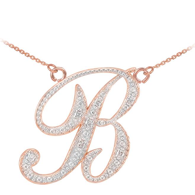 14k rose gold cursive quotaquot initial diamond pendant necklace for Letter c gold pendant