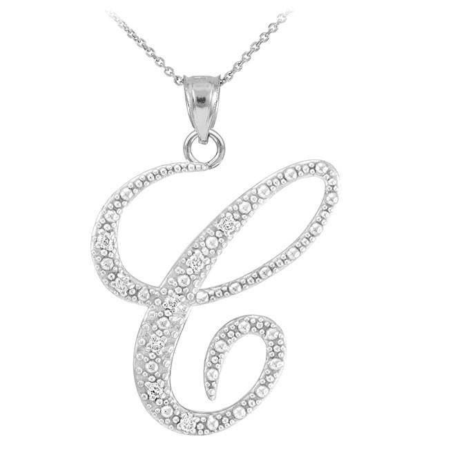 "Sterling Silver Letter Script ""C"" CZ Initial Necklace"