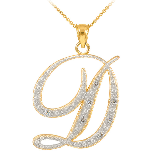 "14k Gold Letter Script ""D"" Diamond Initial Pendant Necklace"