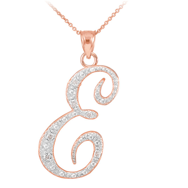 "14k Rose Gold Letter Script ""E"" Diamond Initial Pendant Necklace"