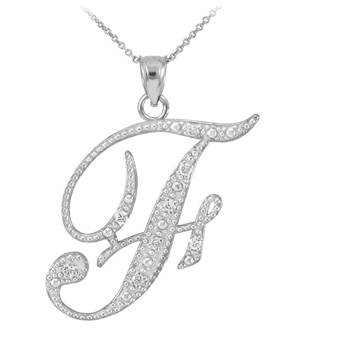 """Sterling Silver Letter Script """"F"""" CZ Initial Necklace"""