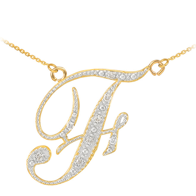 "14k Gold Letter Script ""F"" Diamond Initial Necklace"