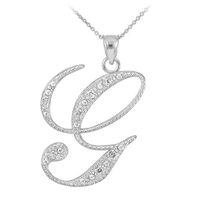 "14k White Gold Letter Script ""G"" Diamond Initial Pendant Necklace"