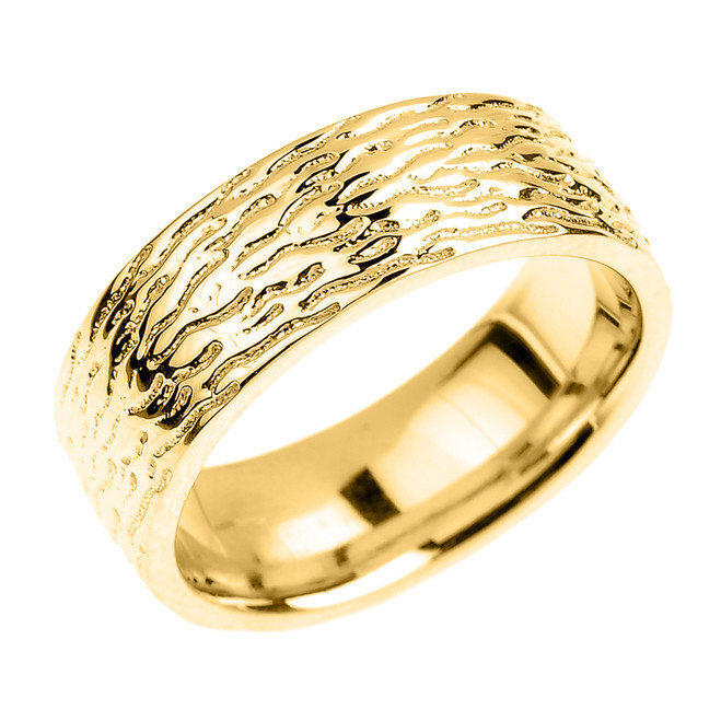 Textured Yellow Gold Wedding Band - 7 MM