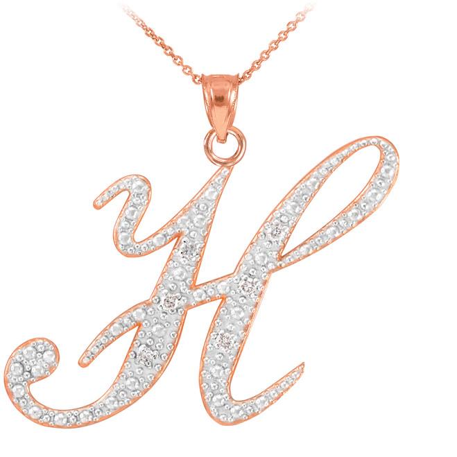 """14k Rose Gold Letter Script """"H"""" Diamond Initial Pendant Necklace"""
