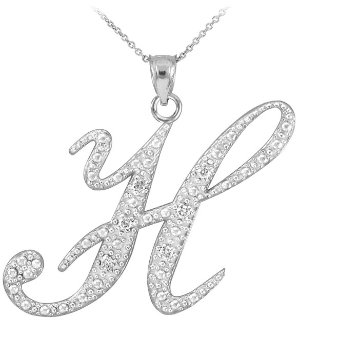"Sterling SIlver Letter Script ""H"" CZ Initial Necklace"
