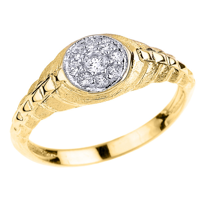 Yellow Gold Watchband Design CZ Studded Unisex Ring
