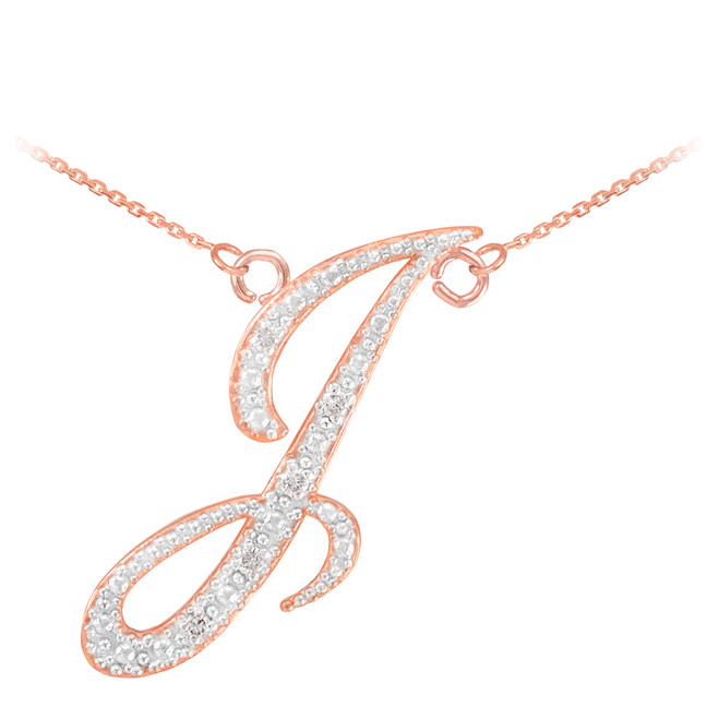 "14k Rose Gold Letter Script ""I"" Diamond Initial Necklace"