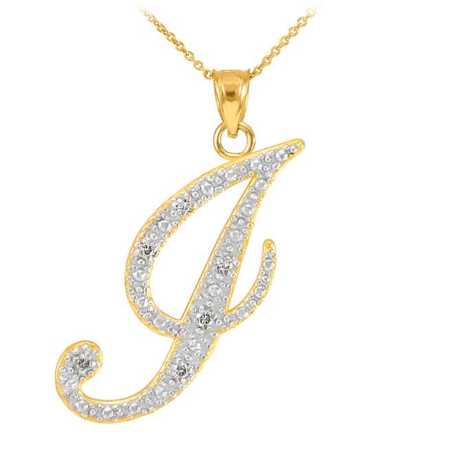 """14k Gold Letter Script """"J"""" Diamond Initial Pendant Necklace"""