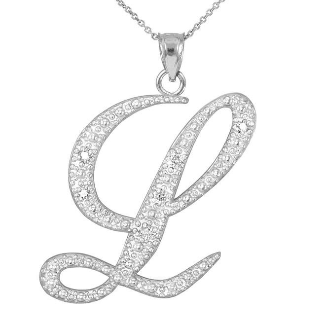 """14k White Gold Letter Script """"L"""" Diamond Initial Pendant Necklace"""