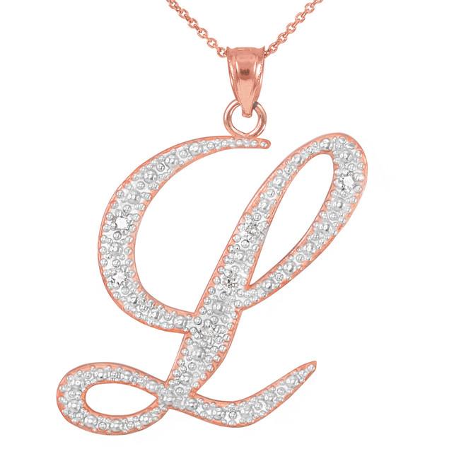 """14k Rose Gold Letter Script """"L"""" Diamond Initial Pendant Necklace"""