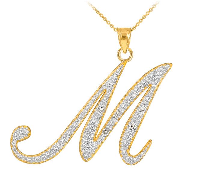 """14k Gold Letter Script """"M"""" Diamond Initial Pendant Necklace"""