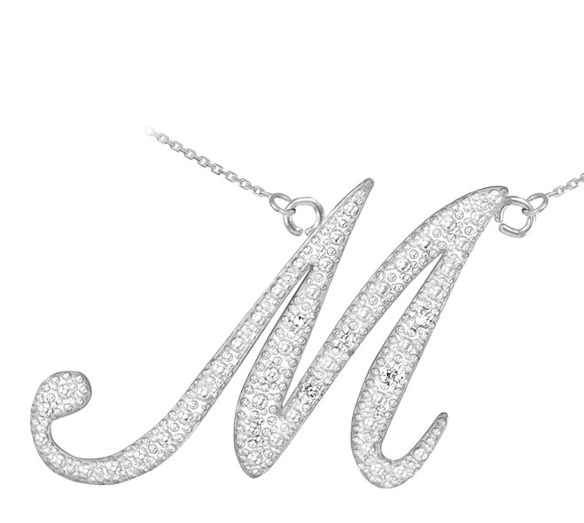 "14k White Gold Letter Script ""M"" Diamond Initial Necklace"