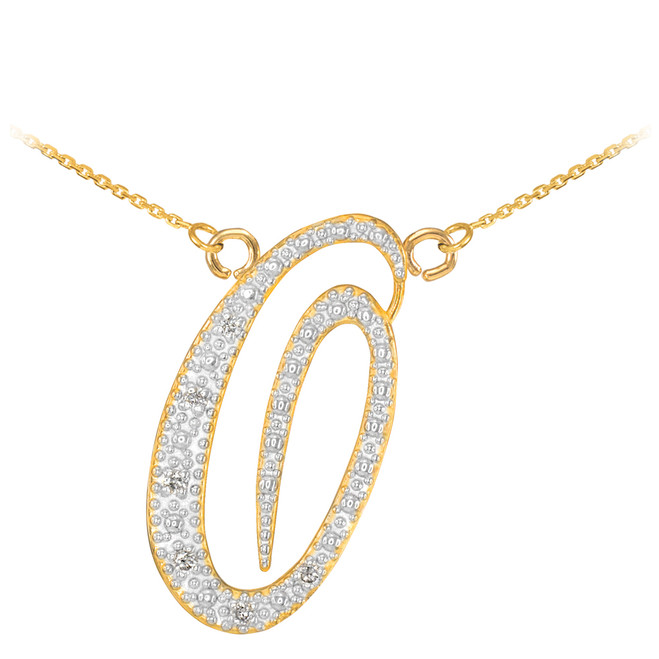 "14k Gold Letter Script ""O"" Diamond Initial Necklace"