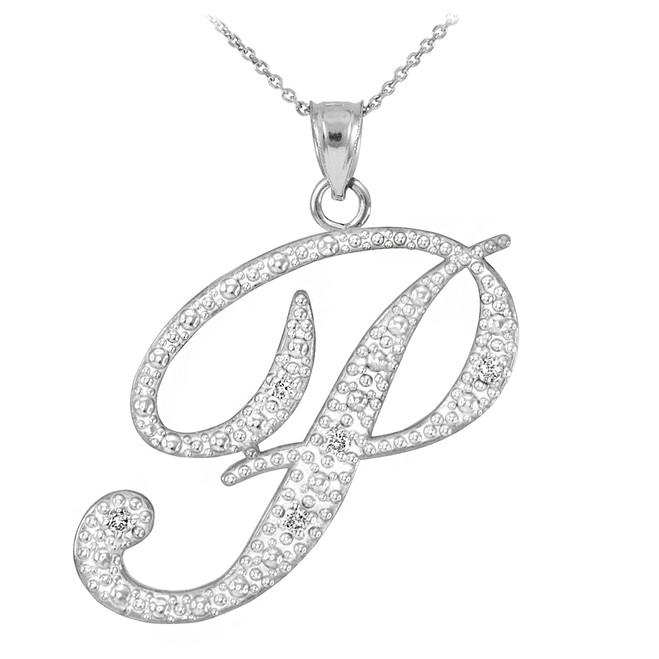 """14k White Gold Letter Script """"P"""" Diamond Initial Pendant Necklace"""