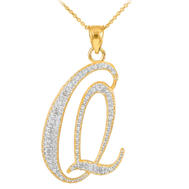 "14k Gold Letter Script ""Q"" Diamond Initial Pendant Necklace"