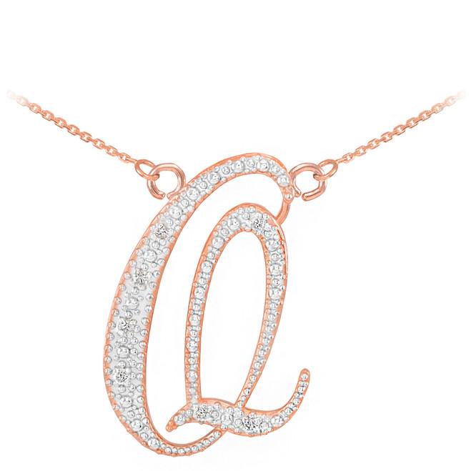 """14k Rose Gold Letter Script """"Q"""" Diamond Initial Necklace"""