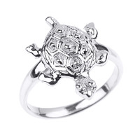 Solid White Gold Turtle Ladies Ring