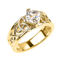 Yellow Gold Celtic Knot Princess Cut CZ Engagement Ring