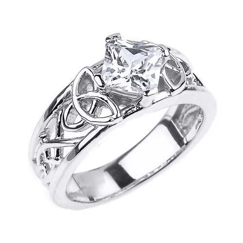 Sterling Silver Celtic Knot Princess Cut CZ Engagement Ring