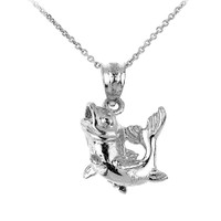 Solid White Gold Sea Bass Charm Pendant Necklace
