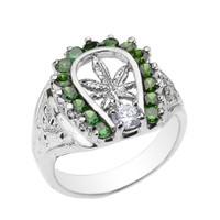 White Gold Horseshoe with Marijuana Leaf Cannabis Men's Ring