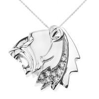 White Gold Roaring Lion Head Diamond Pendant Necklace