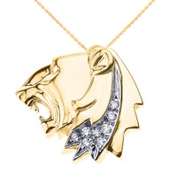 Yellow Gold Roaring Lion Head CZ Pendant Necklace