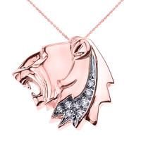 Rose Gold Roaring Lion Head CZ Pendant Necklace