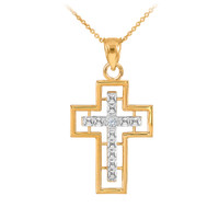 14K Two Tone Gold Cross Diamond Pendant Necklace