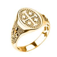 Yellow Gold Jerusalem Cross Unisex Ring with Fleur De Lis