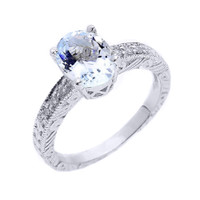 Sterling Silver Art Deco Aquamarine and White Topaz Proposal Ring