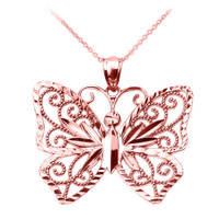 Rose Gold Filigree Butterfly Pendant Necklace