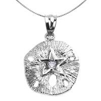 Sterling Silver Sand Dollar CZ Pendant Necklace