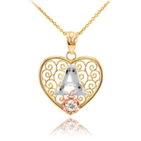 """Two Tone Yellow Gold Filigree Heart """"A"""" Initial CZ Pendant Necklace"""