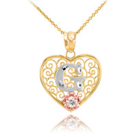 """Two Tone Yellow Gold Filigree Heart """"G"""" Initial CZ Pendant Necklace"""