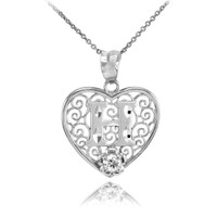 """Silver Filigree Heart """"H"""" Initial CZ Pendant Necklace"""
