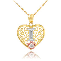 "Two Tone Yellow Gold Filigree Heart ""I"" Initial CZ Pendant Necklace"