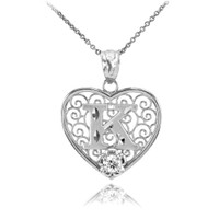 "White Gold Filigree Heart ""K"" Initial CZ Pendant Necklace"