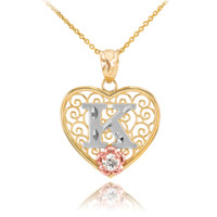 """Two Tone Yellow Gold Filigree Heart """"K"""" Initial CZ Pendant Necklace"""