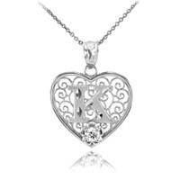 "Silver Filigree Heart ""K"" Initial CZ Pendant Necklace"