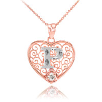 """Two Tone Rose Gold Filigree Heart """"P"""" Initial CZ Pendant Necklace"""