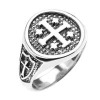 Sterling Silver Jerusalem Crusaders Cross Five Wounds of Christ Men's Ring