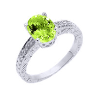 Sterling Silver Art Deco Peridot and White Topaz Birthstone Ring