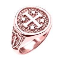 Rose Gold Jerusalem Crusaders Cross Five Wounds of Christ Men's Ring