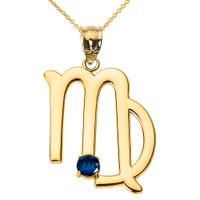 Yellow Gold Virgo Zodiac Sign September Birthstone Pendant Necklace