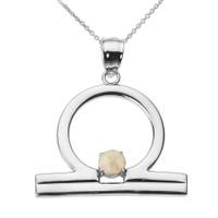 White Gold Libra Zodiac Sign October Birthstone Pendant Necklace