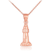 Polished Rose Gold Lighthouse Charm Pendant Necklace