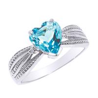 Beautiful White Gold Blue Topaz and Diamond Proposal Ring