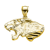 Yellow Gold Diamond Cut Roaring Lion Head Pendant